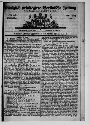 Königlich privilegirte Berlinische Zeitung von Staats- und gelehrten Sachen vom 06.03.1851