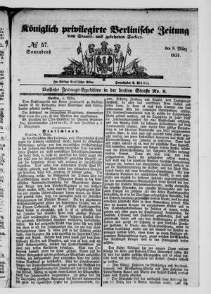 Königlich privilegirte Berlinische Zeitung von Staats- und gelehrten Sachen vom 08.03.1851
