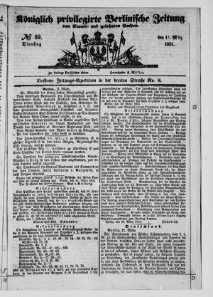 Königlich privilegirte Berlinische Zeitung von Staats- und gelehrten Sachen vom 11.03.1851