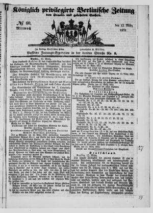 Königlich privilegirte Berlinische Zeitung von Staats- und gelehrten Sachen vom 12.03.1851