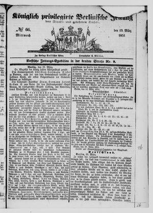Königlich privilegirte Berlinische Zeitung von Staats- und gelehrten Sachen vom 19.03.1851