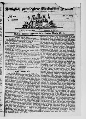 Königlich privilegirte Berlinische Zeitung von Staats- und gelehrten Sachen on Mar 22, 1851
