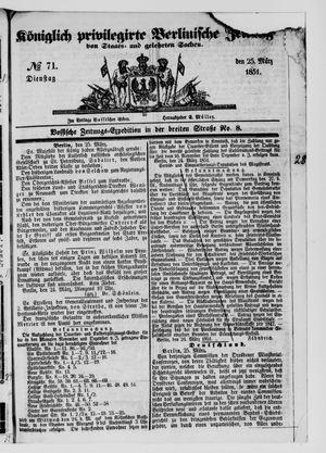 Königlich privilegirte Berlinische Zeitung von Staats- und gelehrten Sachen vom 25.03.1851