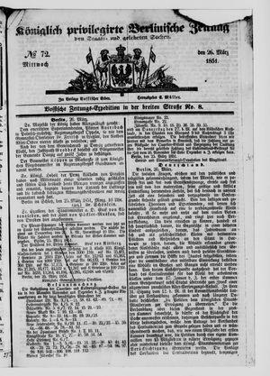 Königlich privilegirte Berlinische Zeitung von Staats- und gelehrten Sachen vom 26.03.1851