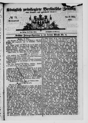 Königlich privilegirte Berlinische Zeitung von Staats- und gelehrten Sachen vom 29.03.1851