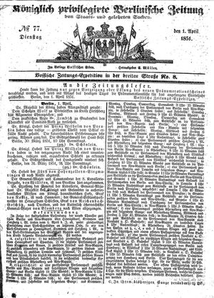 Königlich privilegirte Berlinische Zeitung von Staats- und gelehrten Sachen vom 01.04.1851