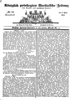 Königlich privilegirte Berlinische Zeitung von Staats- und gelehrten Sachen vom 05.04.1851