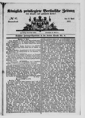 Königlich privilegirte Berlinische Zeitung von Staats- und gelehrten Sachen vom 12.04.1851