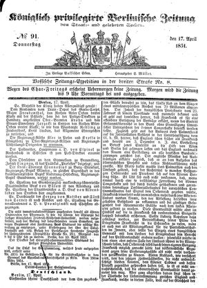 Königlich privilegirte Berlinische Zeitung von Staats- und gelehrten Sachen vom 17.04.1851