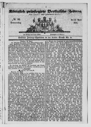 Königlich privilegirte Berlinische Zeitung von Staats- und gelehrten Sachen vom 24.04.1851