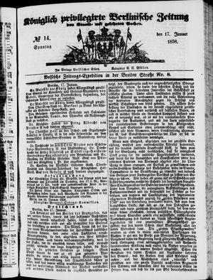 Königlich privilegirte Berlinische Zeitung von Staats- und gelehrten Sachen vom 17.01.1858