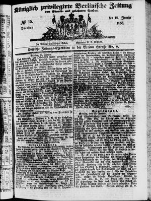 Königlich privilegirte Berlinische Zeitung von Staats- und gelehrten Sachen vom 19.01.1858