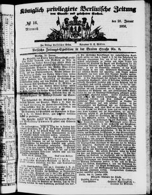 Königlich privilegirte Berlinische Zeitung von Staats- und gelehrten Sachen vom 20.01.1858