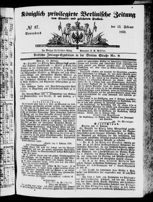 Königlich privilegirte Berlinische Zeitung von Staats- und gelehrten Sachen vom 13.02.1858