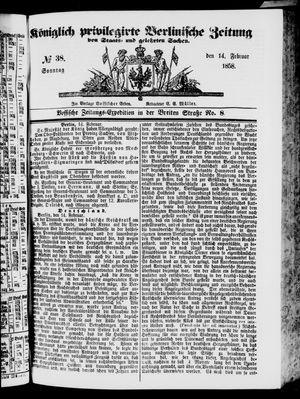 Königlich privilegirte Berlinische Zeitung von Staats- und gelehrten Sachen vom 14.02.1858
