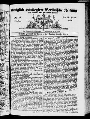 Königlich privilegirte Berlinische Zeitung von Staats- und gelehrten Sachen vom 16.02.1858