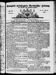 Königlich privilegirte Berlinische Zeitung von Staats- und gelehrten Sachen (23.02.1858)