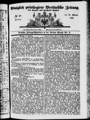 Königlich privilegirte Berlinische Zeitung von Staats- und gelehrten Sachen on Feb 26, 1858