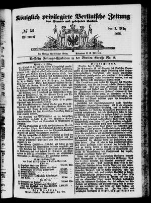 Königlich privilegirte Berlinische Zeitung von Staats- und gelehrten Sachen vom 03.03.1858
