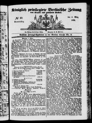 Königlich privilegirte Berlinische Zeitung von Staats- und gelehrten Sachen vom 04.03.1858