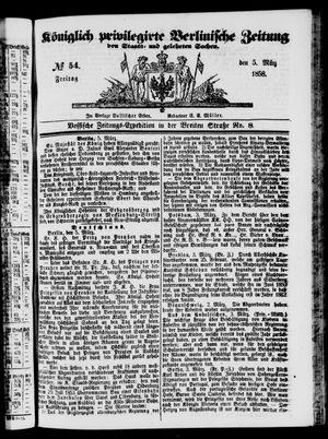 Königlich privilegirte Berlinische Zeitung von Staats- und gelehrten Sachen vom 05.03.1858