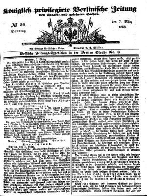 Königlich privilegirte Berlinische Zeitung von Staats- und gelehrten Sachen on Mar 7, 1858