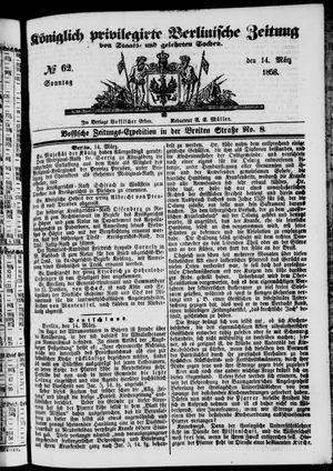 Königlich privilegirte Berlinische Zeitung von Staats- und gelehrten Sachen vom 14.03.1858
