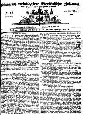 Königlich privilegirte Berlinische Zeitung von Staats- und gelehrten Sachen vom 16.03.1858