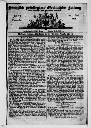 Königlich privilegirte Berlinische Zeitung von Staats- und gelehrten Sachen vom 01.04.1858