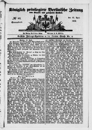 Königlich privilegirte Berlinische Zeitung von Staats- und gelehrten Sachen vom 10.04.1858