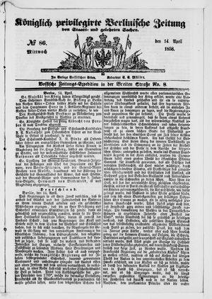 Königlich privilegirte Berlinische Zeitung von Staats- und gelehrten Sachen vom 14.04.1858