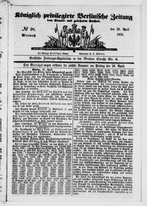 Königlich privilegirte Berlinische Zeitung von Staats- und gelehrten Sachen vom 28.04.1858