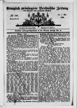 Königlich privilegirte Berlinische Zeitung von Staats- und gelehrten Sachen vom 01.05.1858