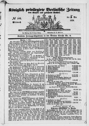 Königlich privilegirte Berlinische Zeitung von Staats- und gelehrten Sachen vom 05.05.1858