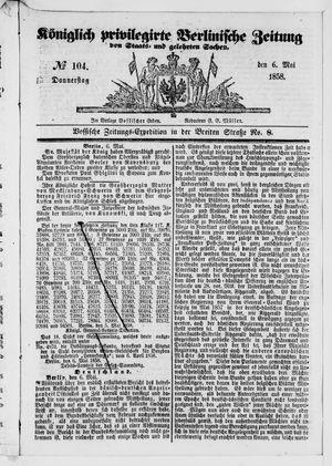 Königlich privilegirte Berlinische Zeitung von Staats- und gelehrten Sachen vom 06.05.1858