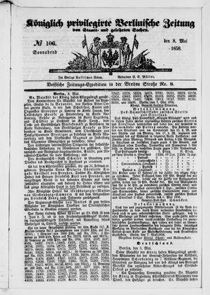 Königlich privilegirte Berlinische Zeitung von Staats- und gelehrten Sachen vom 08.05.1858