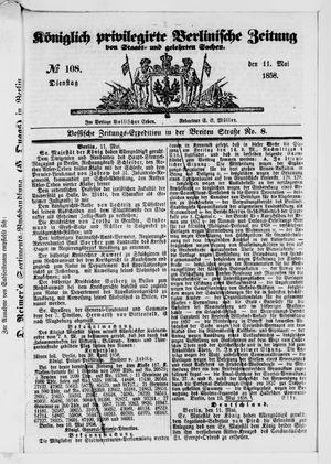 Königlich privilegirte Berlinische Zeitung von Staats- und gelehrten Sachen vom 11.05.1858