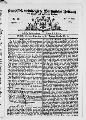 Königlich privilegirte Berlinische Zeitung von Staats- und gelehrten Sachen vom 15.05.1858