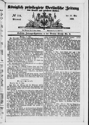 Königlich privilegirte Berlinische Zeitung von Staats- und gelehrten Sachen vom 19.05.1858