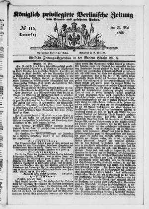 Königlich privilegirte Berlinische Zeitung von Staats- und gelehrten Sachen vom 20.05.1858