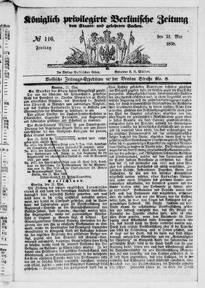 Königlich privilegirte Berlinische Zeitung von Staats- und gelehrten Sachen on May 21, 1858