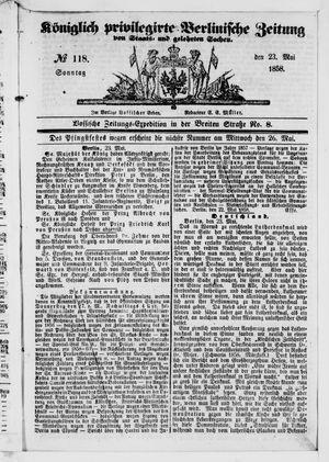 Königlich privilegirte Berlinische Zeitung von Staats- und gelehrten Sachen on May 23, 1858