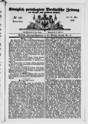Königlich privilegirte Berlinische Zeitung von Staats- und gelehrten Sachen on May 27, 1858