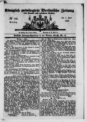 Königlich privilegirte Berlinische Zeitung von Staats- und gelehrten Sachen vom 01.06.1858