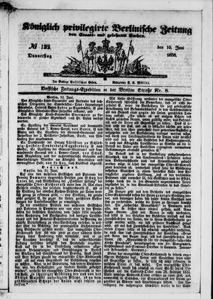 Königlich privilegirte Berlinische Zeitung von Staats- und gelehrten Sachen vom 10.06.1858