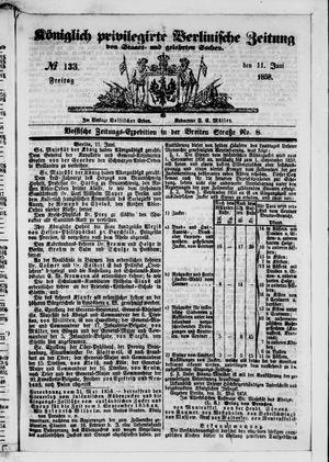 Königlich privilegirte Berlinische Zeitung von Staats- und gelehrten Sachen vom 11.06.1858