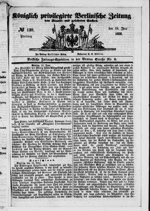 Königlich privilegirte Berlinische Zeitung von Staats- und gelehrten Sachen vom 18.06.1858