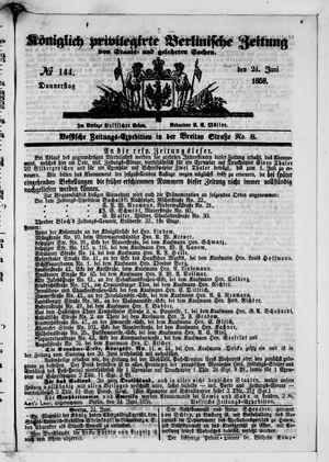 Königlich privilegirte Berlinische Zeitung von Staats- und gelehrten Sachen vom 24.06.1858