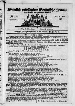 Königlich privilegirte Berlinische Zeitung von Staats- und gelehrten Sachen vom 26.06.1858