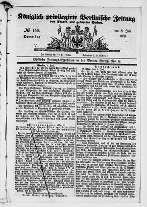Königlich privilegirte Berlinische Zeitung von Staats- und gelehrten Sachen vom 08.07.1858